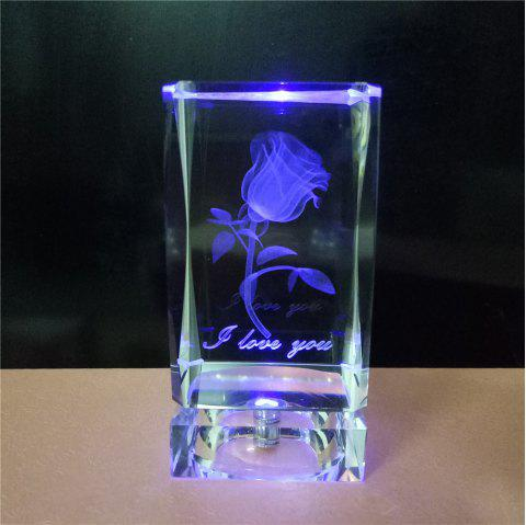 GodRays G051001 - S01  LED Colorful 3D Cube Crystal Rose for Valentine Day Gift - multicolor R 5 X 10 CM