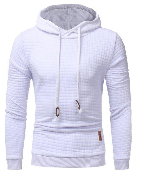 Men's Casual Solid Color Jacquard Pullover Long Sleeve Hoodie - WHITE M
