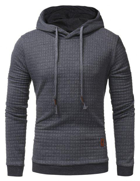 Men's Casual Pure Color Jacquard Pullover Long Sleeve Hoodie - DARK GRAY XL