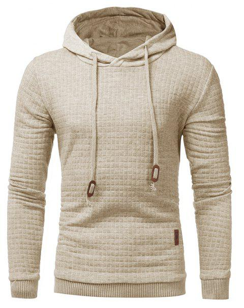 Men's Casual Pure Color Jacquard Pullover Long Sleeve Hoodie - APRICOT M