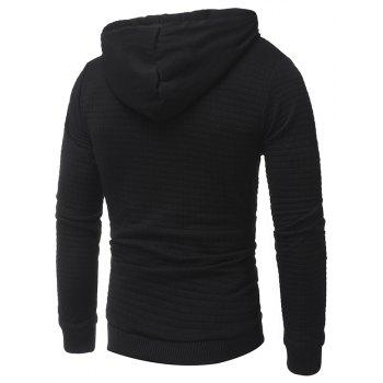Men's Casual Pure Color Jacquard Pullover Long Sleeve Hoodie - BLACK L