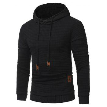 Men's Casual Pure Color Jacquard Pullover Long Sleeve Hoodie - BLACK XL