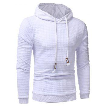 Men's Casual Pure Color Jacquard Pullover Long Sleeve Hoodie - WHITE M