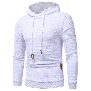 Men's Casual Pure Color Jacquard Pullover Long Sleeve Hoodie - WHITE L