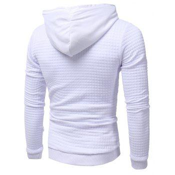 Men's Casual Pure Color Jacquard Pullover Long Sleeve Hoodie - WHITE XL