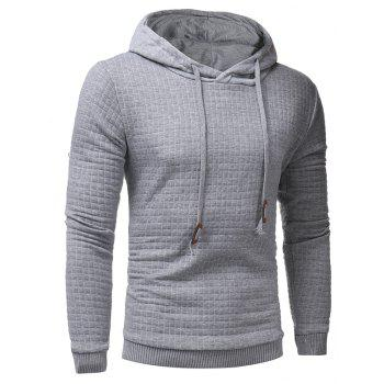 Men's Casual Pure Color Jacquard Pullover Long Sleeve Hoodie - LIGHT GRAY L
