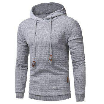 Men's Casual Pure Color Jacquard Pullover Long Sleeve Hoodie - LIGHT GRAY XL