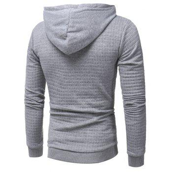 Men's Casual Pure Color Jacquard Pullover Long Sleeve Hoodie - LIGHT GRAY 3XL