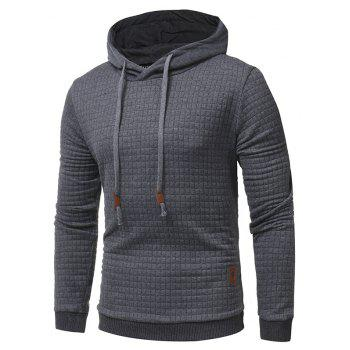 Men's Casual Pure Color Jacquard Pullover Long Sleeve Hoodie - DARK GRAY 3XL