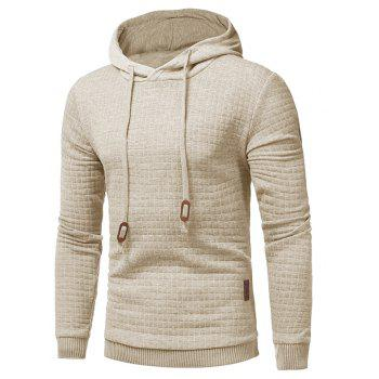 Men's Casual Pure Color Jacquard Pullover Long Sleeve Hoodie - APRICOT S