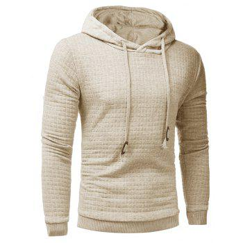 Men's Casual Pure Color Jacquard Pullover Long Sleeve Hoodie - APRICOT 3XL