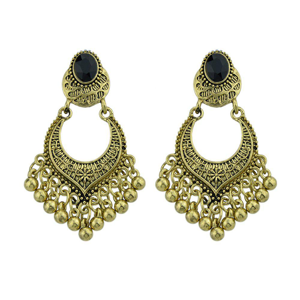 Metal Beads Geometric Dangle Earrings - GOLD