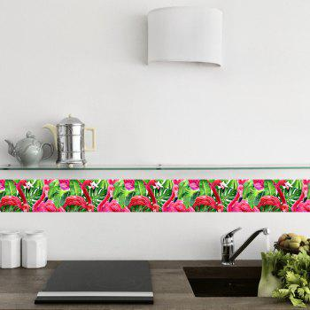 Self-Adhesive Baseboard Waist Line Decor Waterproof PVC Flamingo Wall Sticker - multicolor A