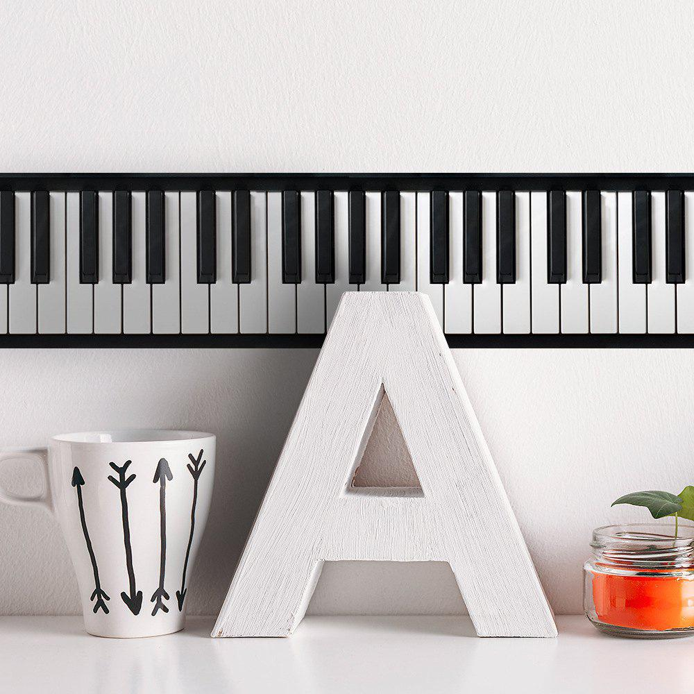 Self-Adhesive Baseboard Waist Line Decor Piano Key Printing Wall Sticker - multicolor A