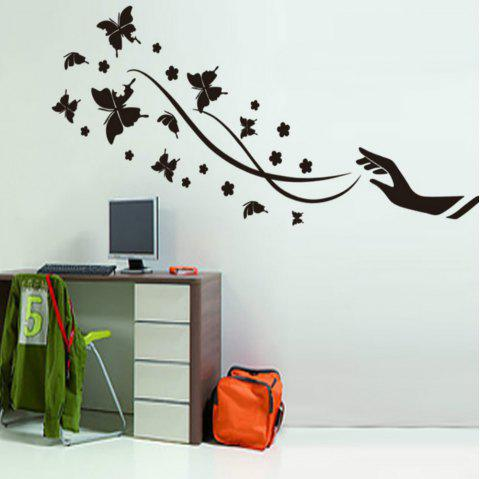 Creative Black Wallpaper Butterfly Pattern Wall Sticker Home Decoration - BLACK