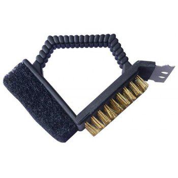 Triple Barbecue Grill Brush Copper Steel Cleaning Brushes  Accessories - BLACK