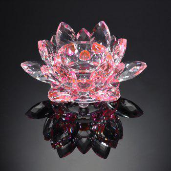 Exquisite Crystal Glass Lotus Candlestick - PINK
