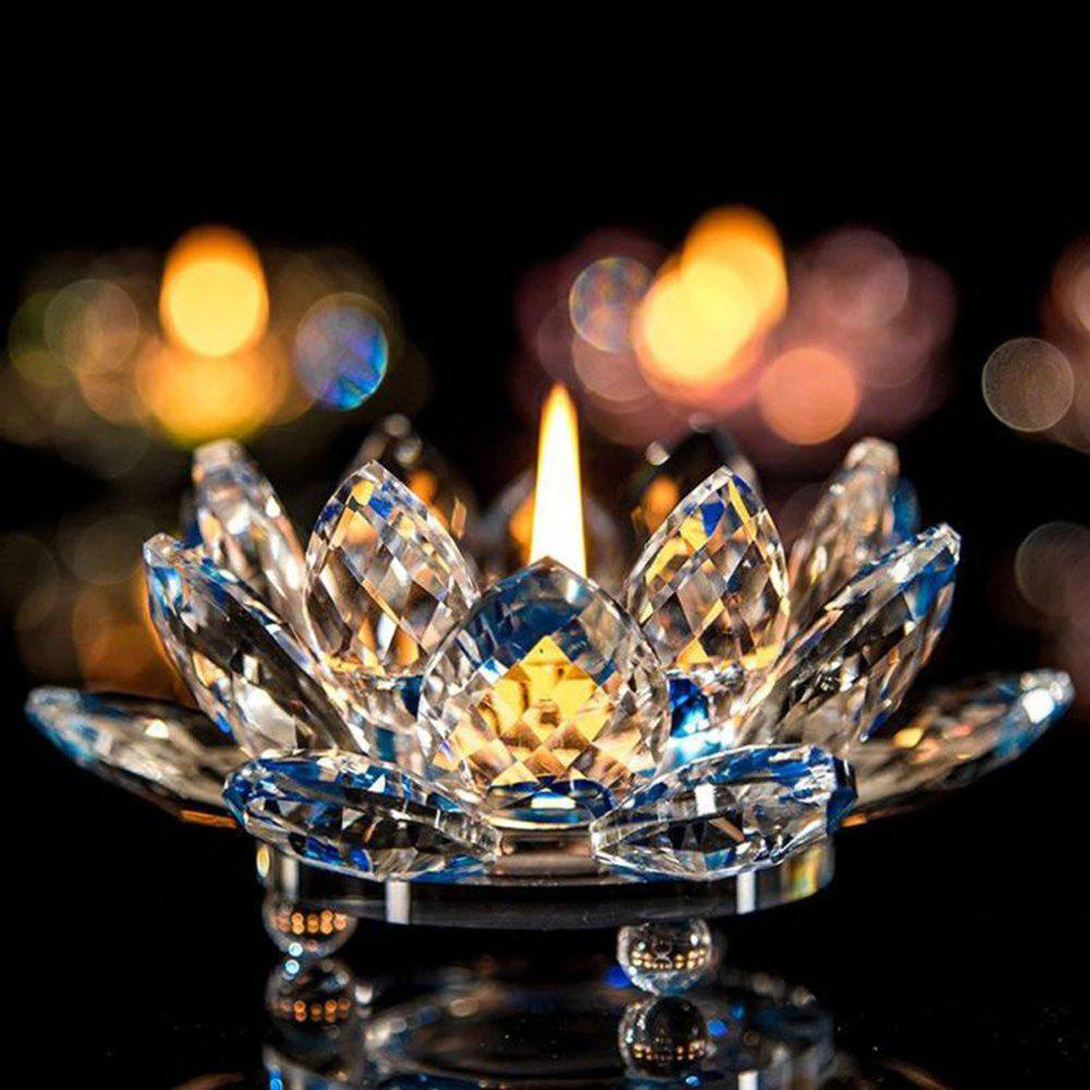 Exquisite Crystal Glass Lotus Candlestick - BLUE