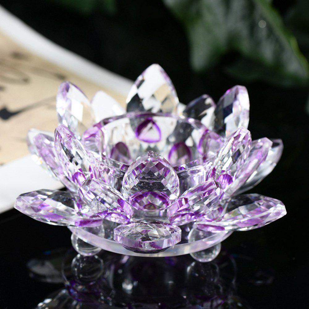 Exquisite Crystal Glass Lotus Candlestick - PURPLE