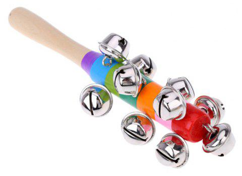 Bells Rainbow Hand Shake Sound Bell Rattles Baby Kid Children Educational Toy - multicolor