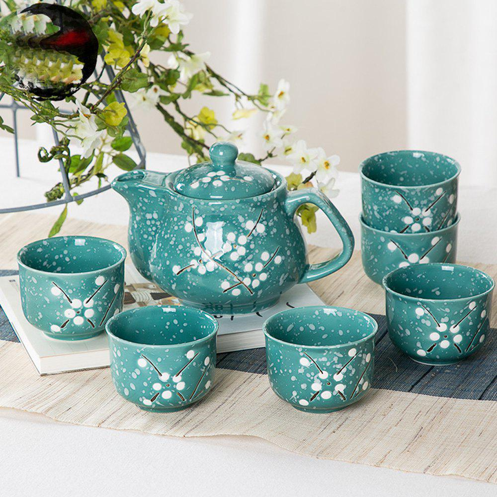 7PCS Sweet Floral Hand Painted Ceramic Teapot Set - SEA TURTLE GREEN 17.5*12.5*12