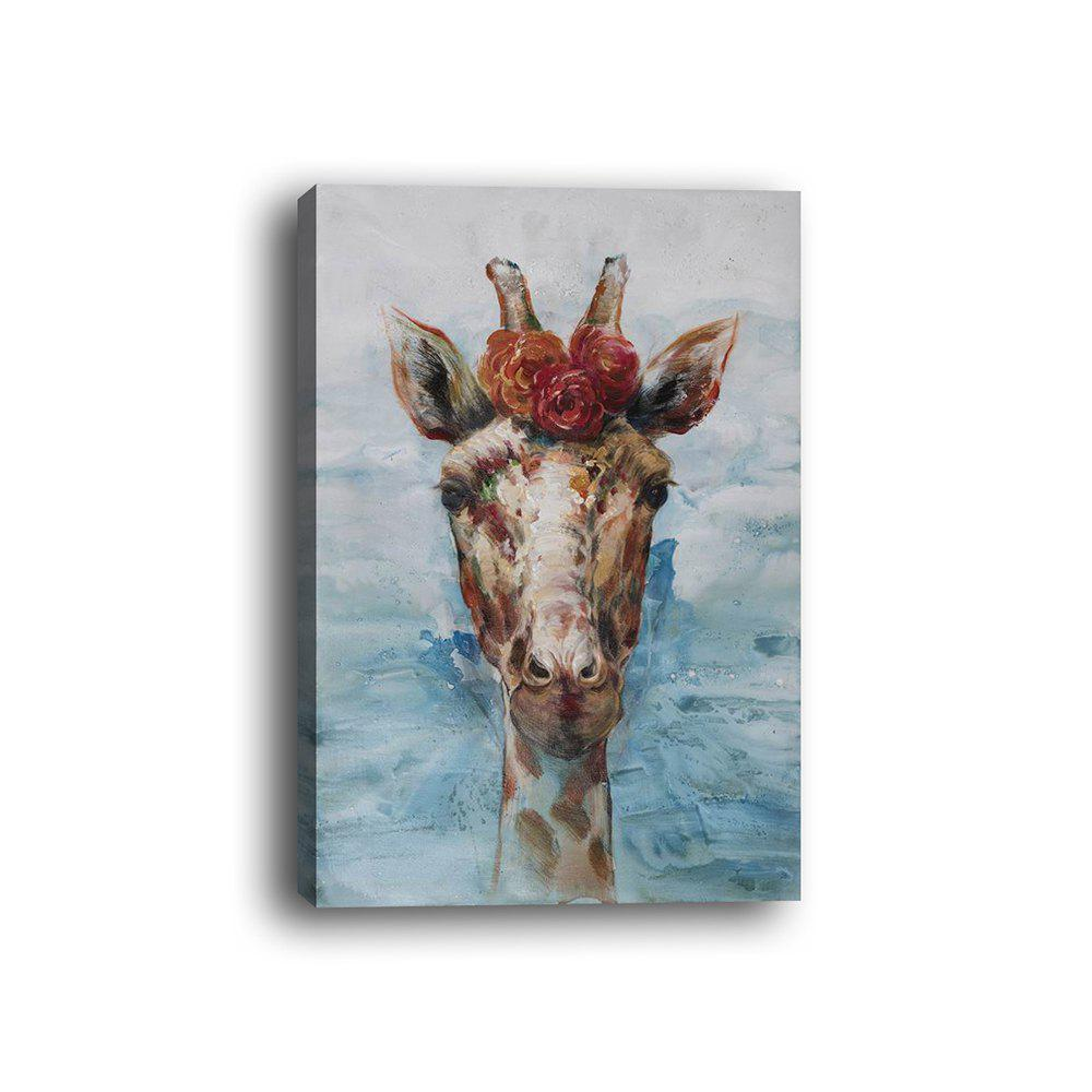 Framed Canvas Modern Living Room Bedroom Giraffe Decorative Print - multicolor 14 X 20 INCH (35CM X 50CM)