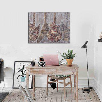 Framed Canvas Bedroom Wall Abstract Musical Instruments Violin Decoration Print - multicolor 12 X 16 INCH (30CM X 40CM)