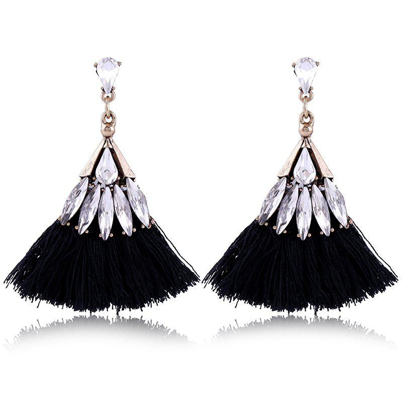 Explosion Fashion Trend Bohemian Zircon Fan Fringe Earrings - BLACK