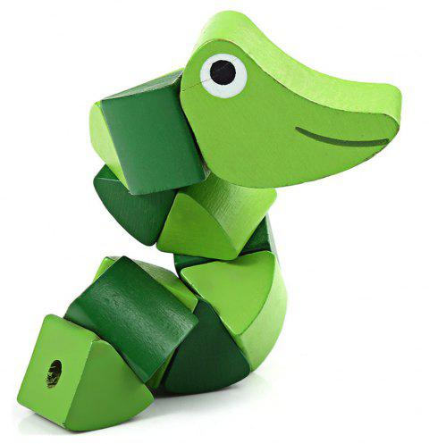 Unisex Twisting Insect Wooden Toy for Baby Kids Colorful - YELLOW GREEN