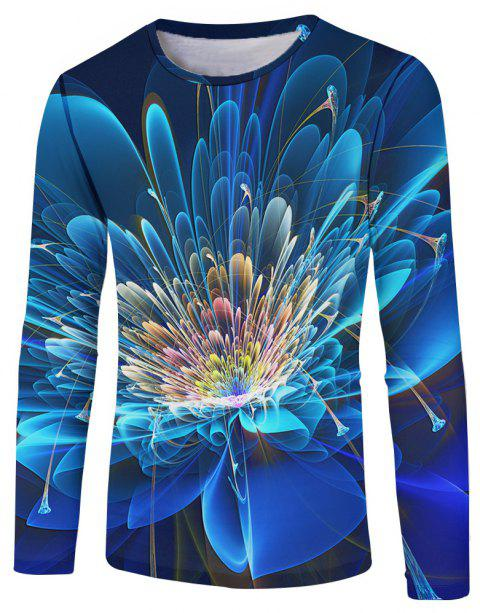 a6ab121d83c3 3D Spring and Autumn Fashion Flower Printing Men's Long Sleeve T-shirt -  SILK BLUE