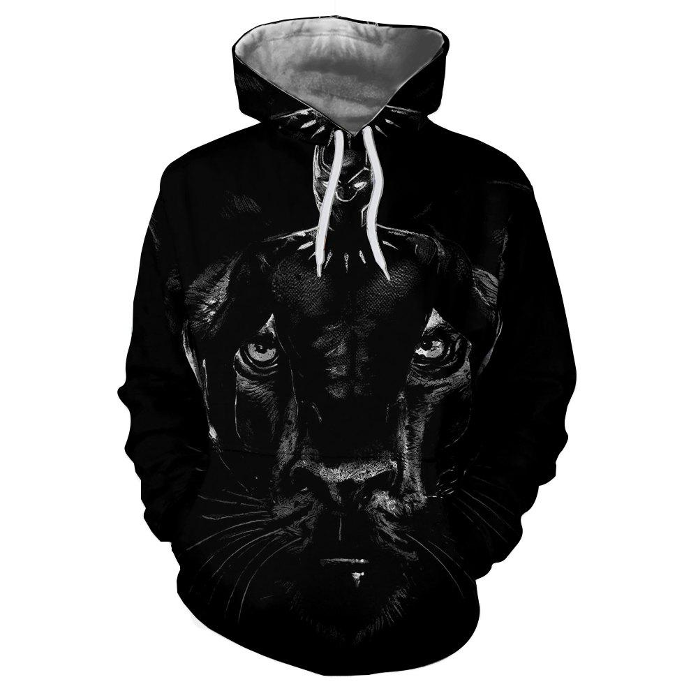 Winter New Black Dog Head 3D Print Male Hoodie - BLACK L