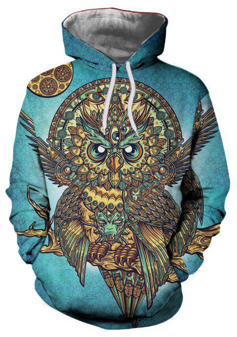 Winter New Fashion Owl 3D Printing Man Hoodie - MACAW BLUE GREEN XL