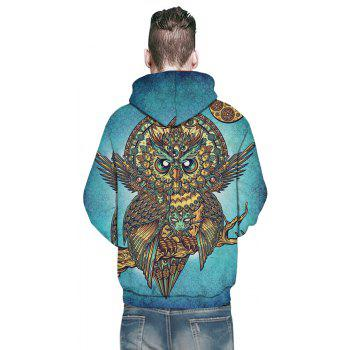 Winter New Fashion Owl 3D Printing Man Hoodie - MACAW BLUE GREEN M