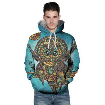 Winter New Fashion Owl 3D Printing Man Hoodie - MACAW BLUE GREEN 2XL
