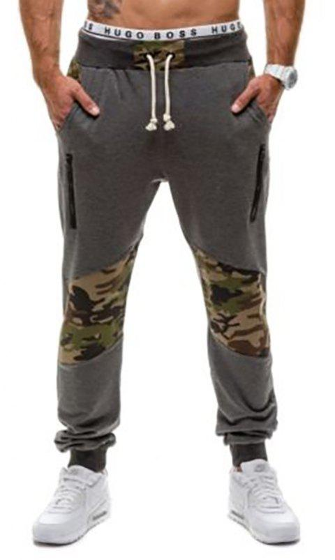 Men's Casual Fashion Camo Stitching Design Pants - DARK GRAY M