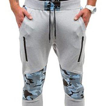 Men's Casual Fashion Camo Stitching Design Pants - LIGHT GRAY M