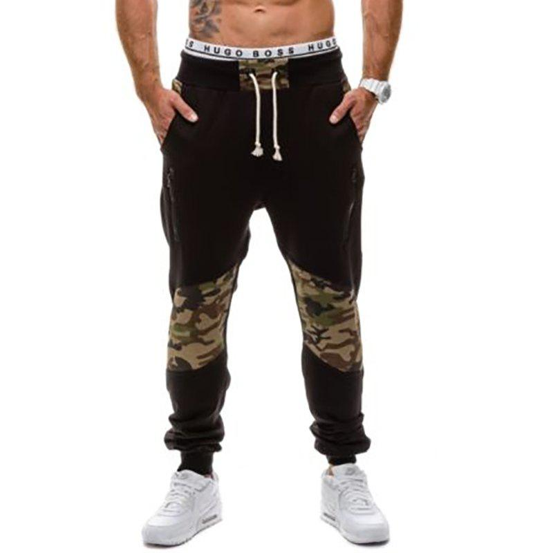 Men's Casual Fashion Camo Stitching Design Pants - BLACK 2XL