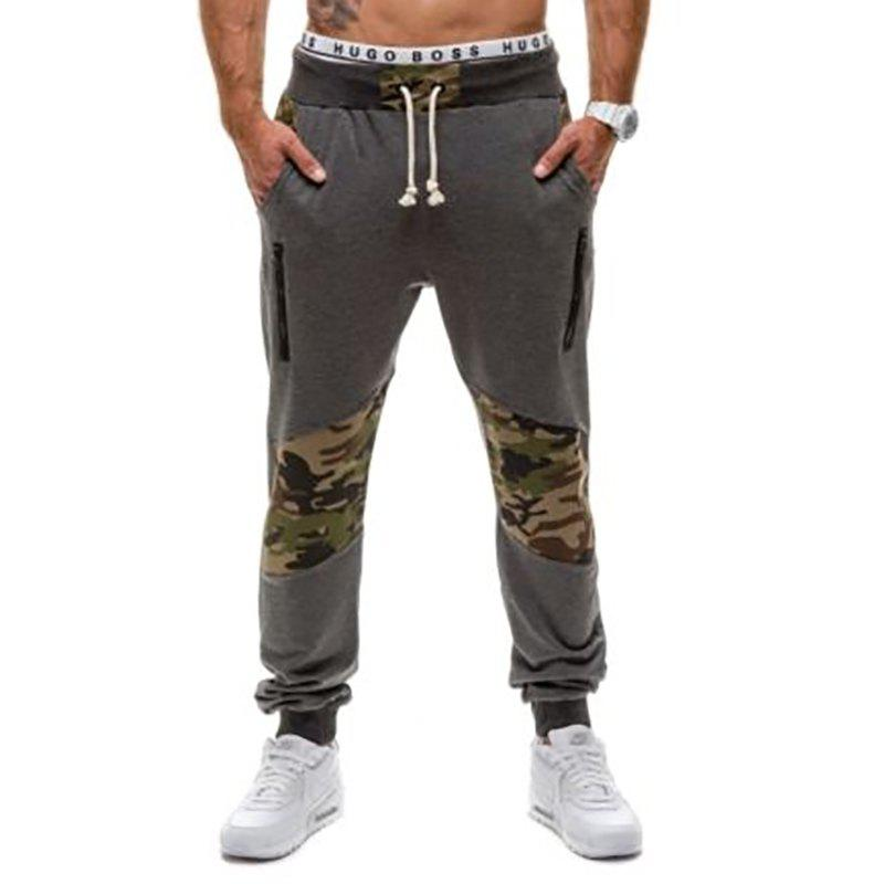 Men's Casual Fashion Camo Stitching Design Pants - DARK GRAY 2XL