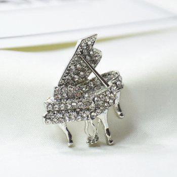 Rhinestone Piano Brooches Fashion Musical Instruments Pins for Man Gift - SILVER