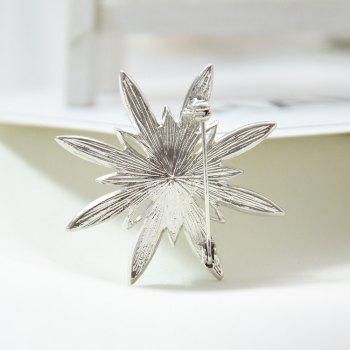 Crystal Sunflower Brooches for Women Exquisite Pins Coat Corsage - SILVER