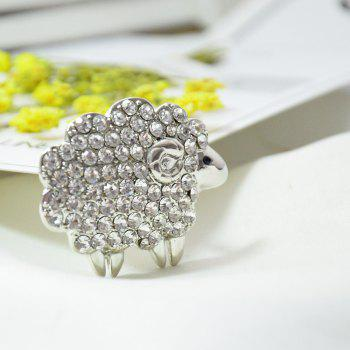 Three Colors Sheep Brooches  Rhinestone Animal Pins for Woman Gift - SILVER