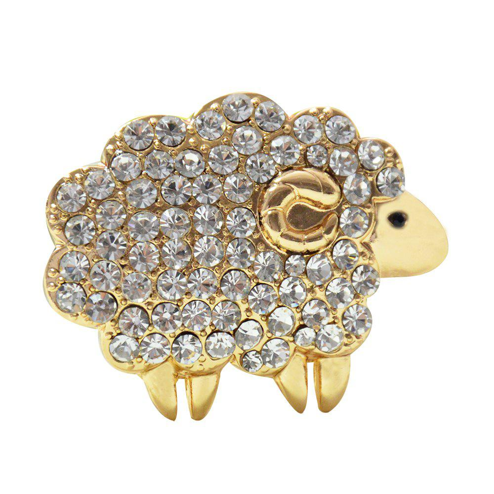 Three Colors Sheep Brooches  Rhinestone Animal Pins for Woman Gift - GOLD