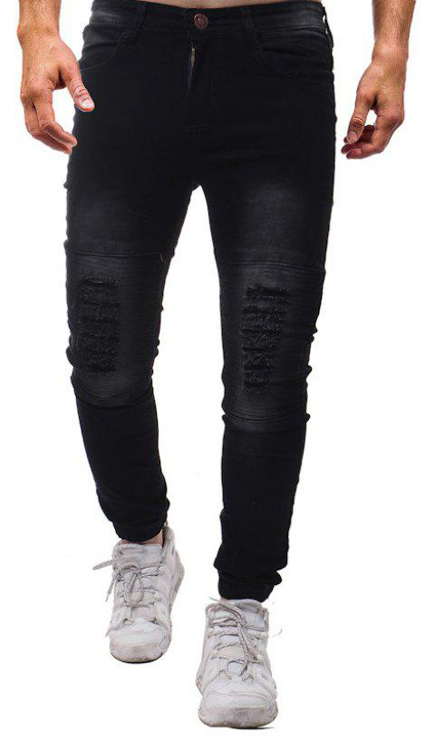 Fashion Pure Wash Pleated Slim Slim Fit Pants Jeans - BLACK 36