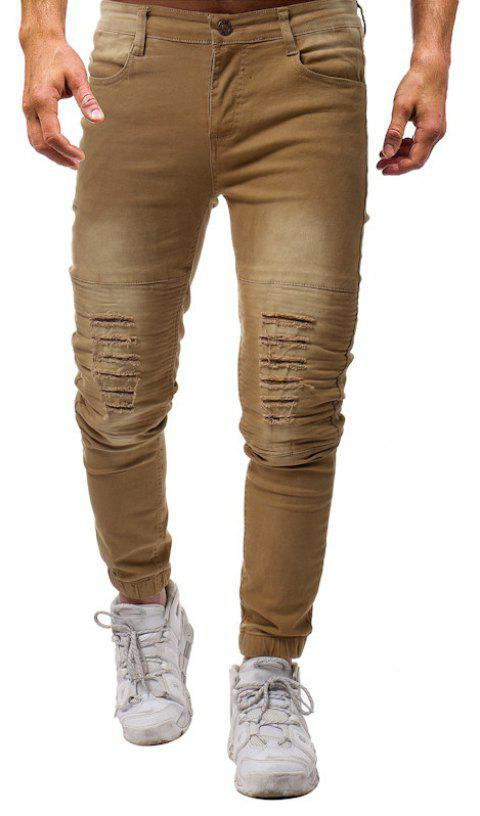 Fashion Pure Wash Pleated Slim Slim Fit Pants Jeans - LIGHT KHAKI 29