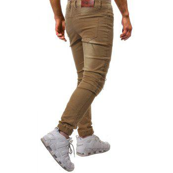 Fashion Pure Wash Pleated Slim Slim Fit Pants Jeans - LIGHT KHAKI 32