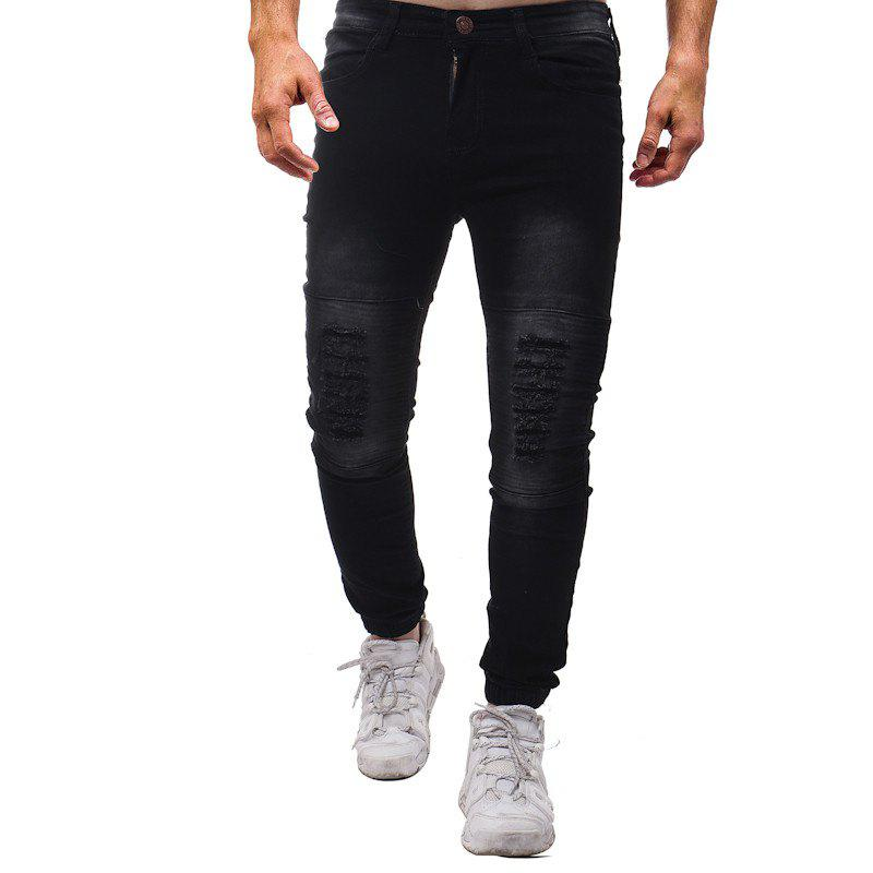 Fashion Pure Wash Pleated Slim Slim Fit Pants Jeans - BLACK 30
