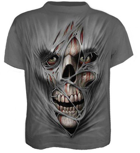 Plus Size Men's Casual 3D Zombie Print Skull Short Sleeves T-shirt - GRAY XL
