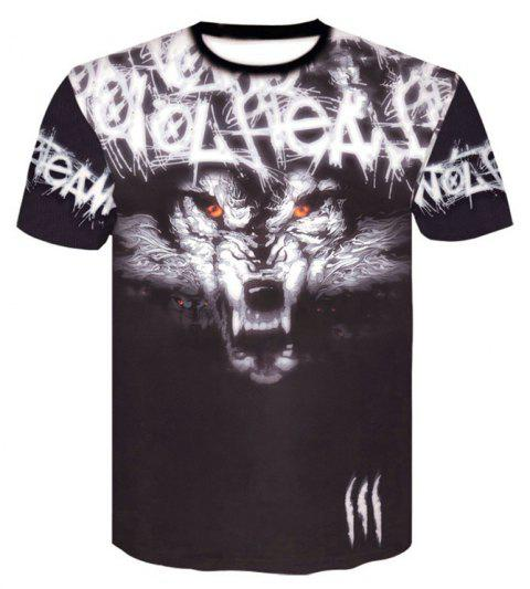 Casual Fashion 3D Print Men's Casual Short Sleeve Graphic T-shirt - BLACK XL