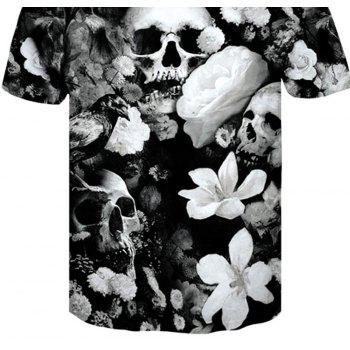 3D Dead Skeleton Print Men's Casual Short Sleeve Graphic T-shirt - BLACK 2XL