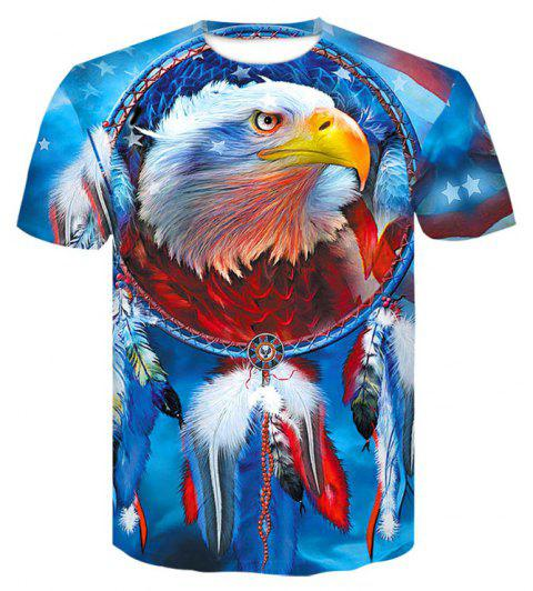 3D American EaglePrint  Men's Casual Short Sleeve Graphic T-shirt - BUTTERFLY BLUE M